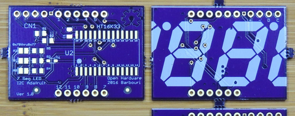 7 segment 4 digit LED display I2C interface board. Front and back