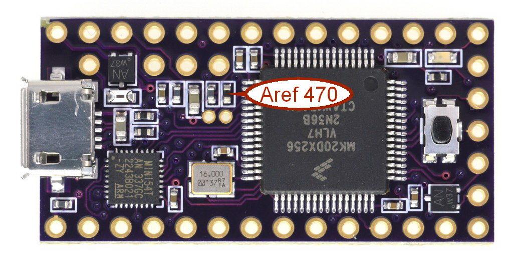 Teensy3.2 Aref 470 ohm pullup resistor