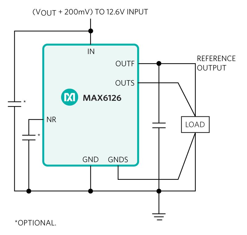 MAX6126 Typical operating circuit diagram, showing 4 wire Kelvin sense connections
