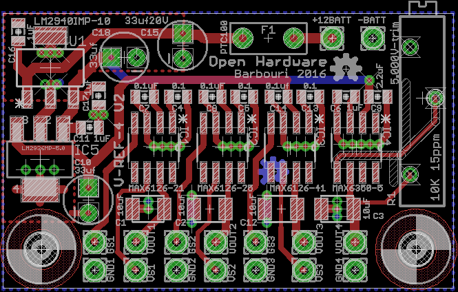 Quad Voltage Reference Version 2 Eagle board