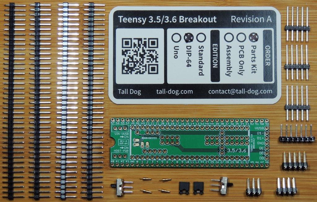 Teensy 3.5/3.6 Breakout (Revision A, DIP-64) Kit parts