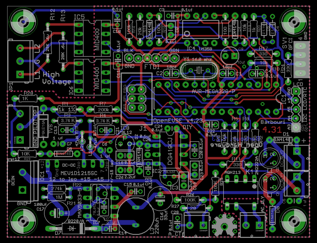DIY Open EVSE 4.23 Board Eagle CAD board layout