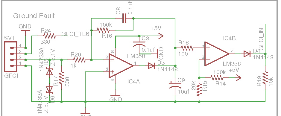 DIY Open EVSE 4.23 Ground Fault Circuit section schematic