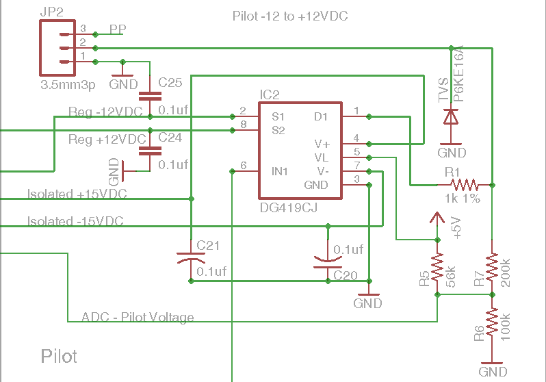 DIY Open EVSE 4.23 Pilot signal communications section schematic
