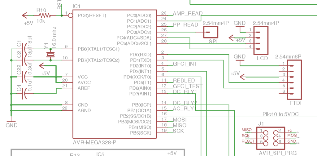 DIY Open EVSE 4.23 ATMEGA 328-P Processor section schematic