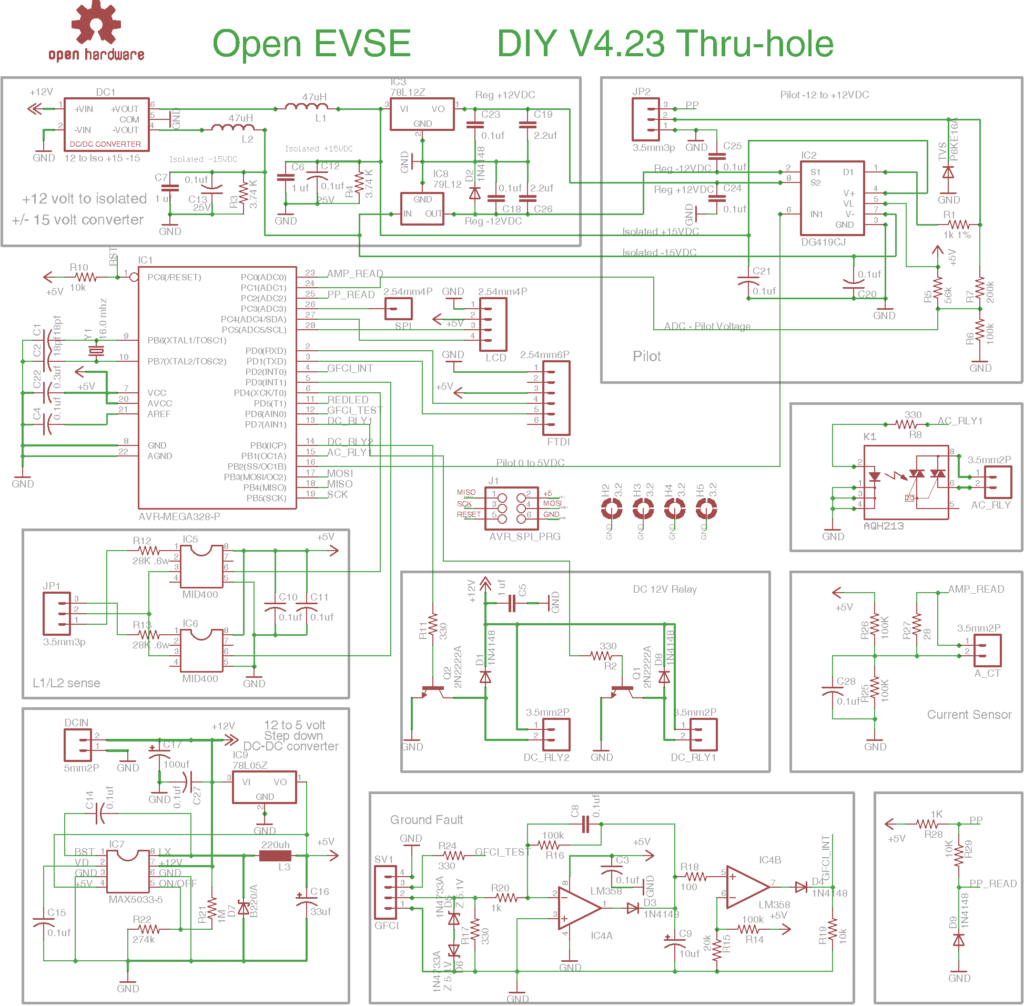 DIYOpenEVSE Schematic for Version 4.23