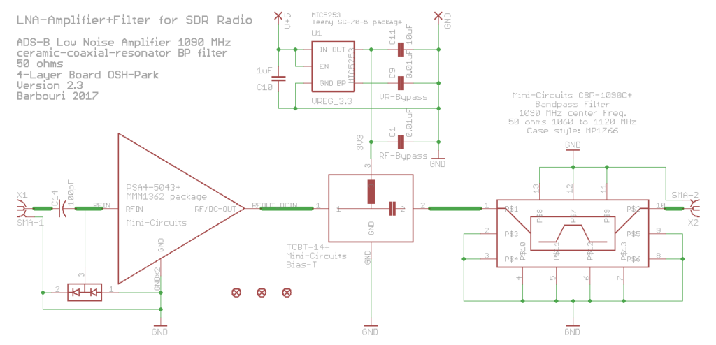 Eagle CAD Version 7.7 schematic drawing for LNA and Filter circuit Version 2.3