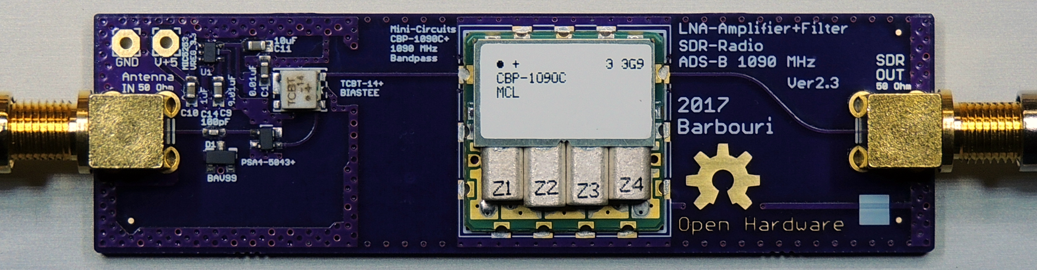 Low Noise Amplifier for SDR Radio ADS-B Ver  2 3 with 1090MHz