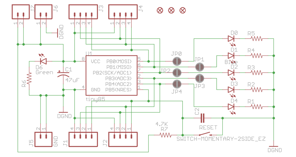 Breakout board schematic Attiny85 Version 1.0