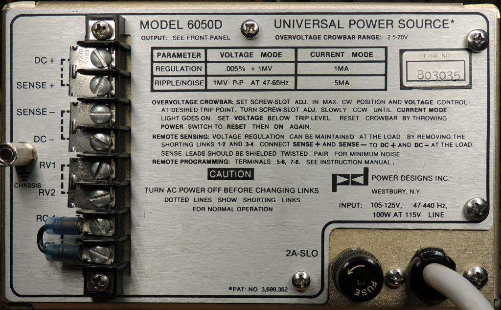 PD6050D back panel