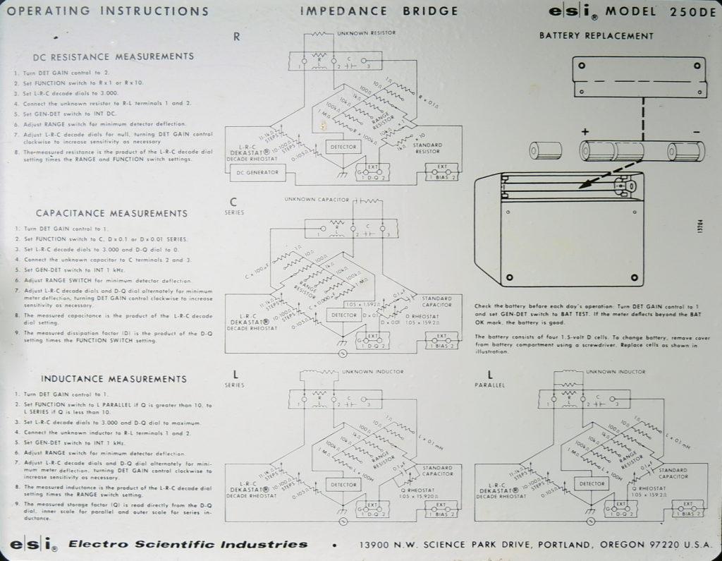 ESI 250DE-Impedance Bridge Inside cover instructions