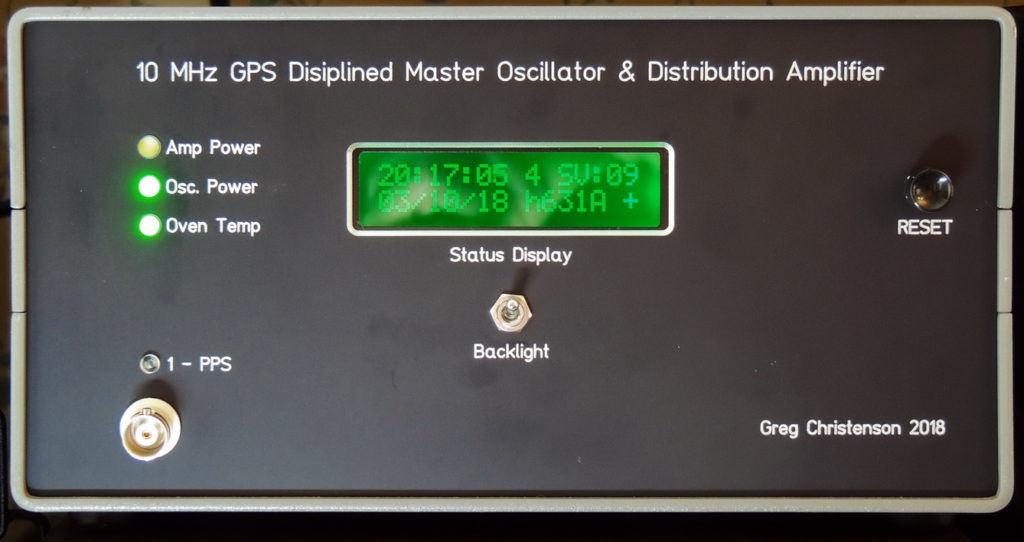 GPS Disiplined 10 MHz Master Oscillator & Distribution Amplifier front panel
