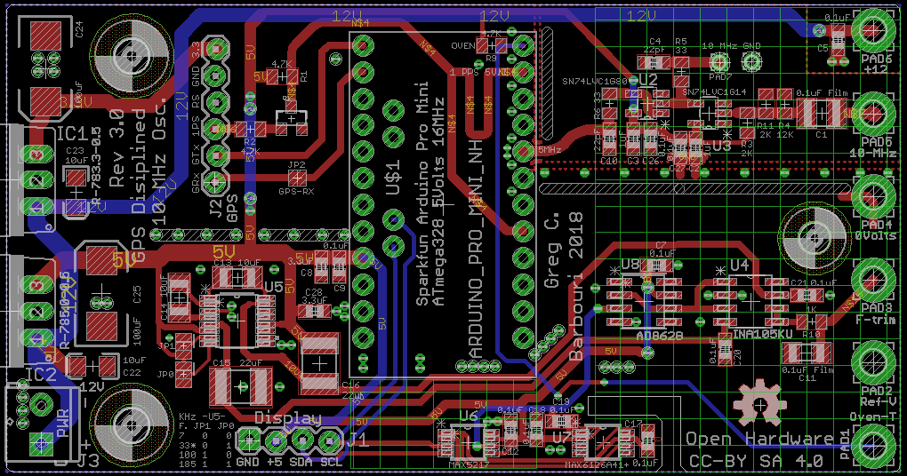 GPSDO10-V3 board layout Eagle CAD V8.5 Top