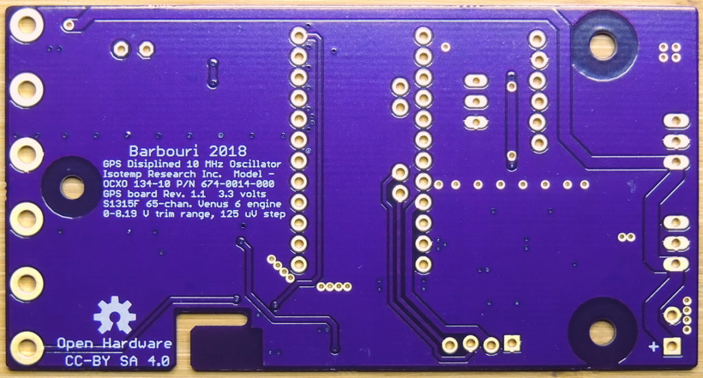 GPSDO 10MHz Rev 1.1 bare circuit board bottom