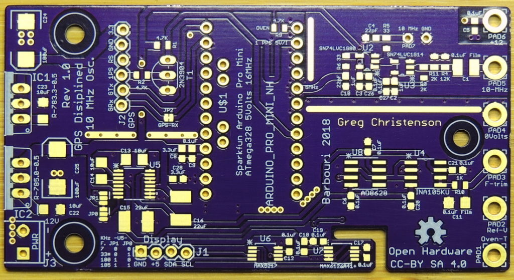GPSDO 10MHz Rev 1.0 bare circuit board top