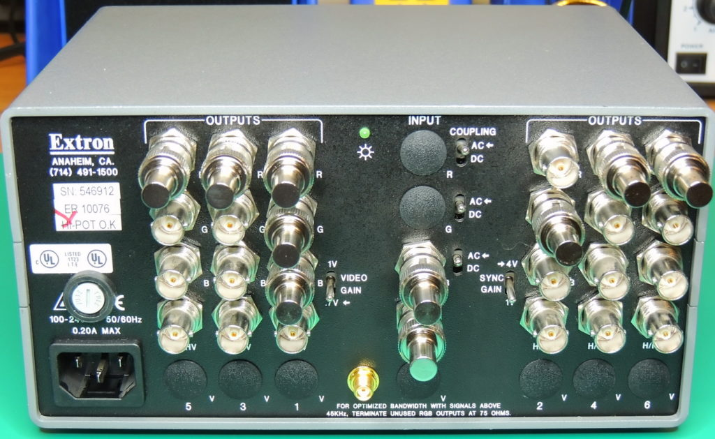 GPSDO 10MHz Extron back panel with GPS antenna connection