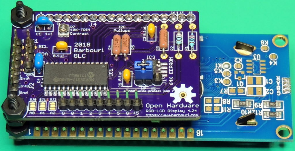RGB-LCD display V4.24 with 64K of EEPROM on I2C bus