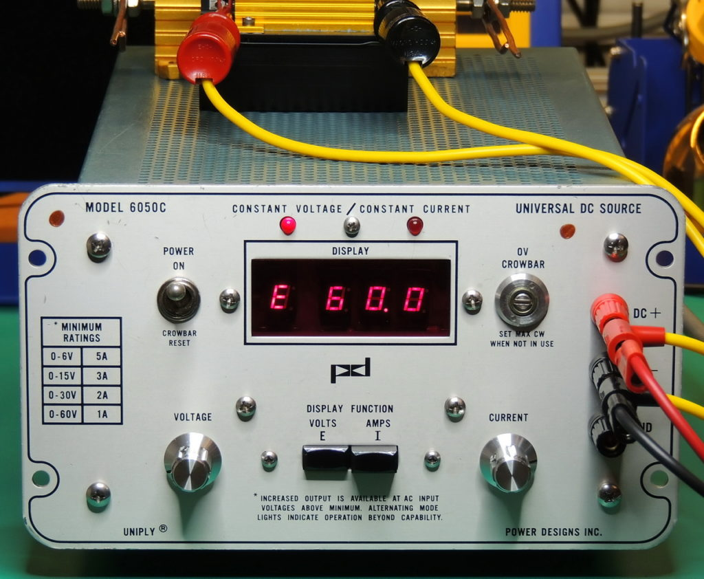 PD 6050C #2 Front panel load testing at 60 volts