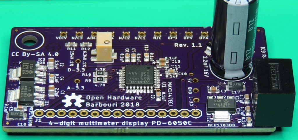 PD 6050C 4-digit display multi-meter board side view