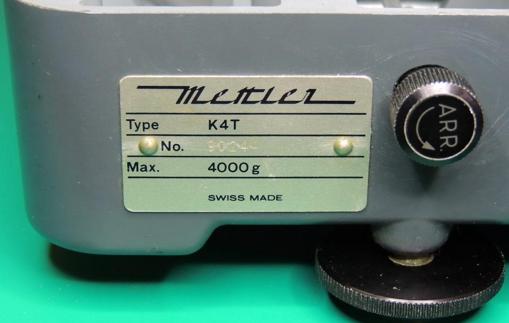 Mettler K4 Back nameplate