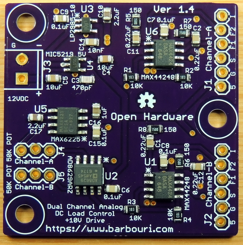 Dual Channel Analog DC Load control board top view