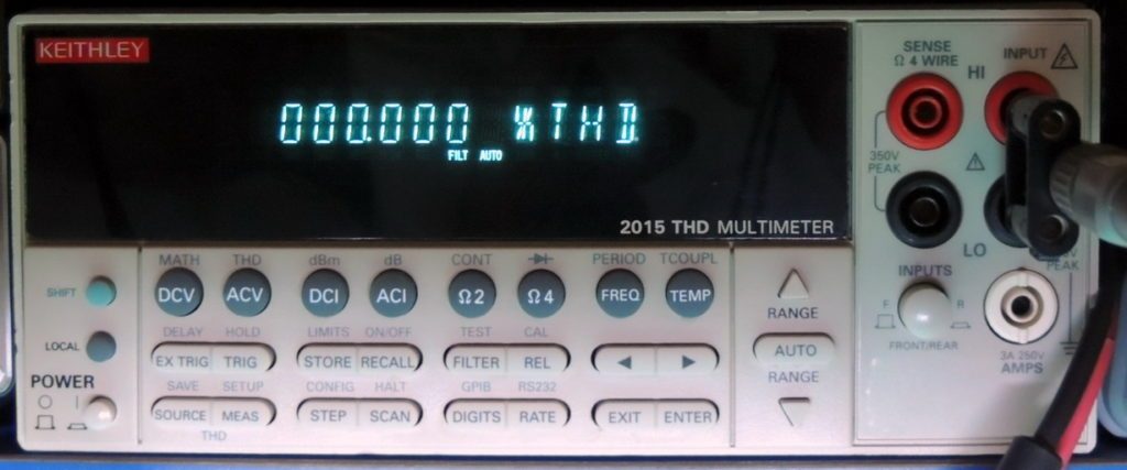 0.000 THD reading on Keithley 2015 THD Multimeter