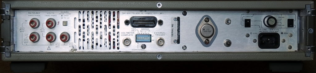 HP 3456A back panel with HPIB connector and Outboard 5 volt regulator