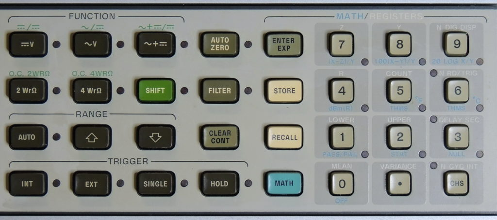 HP 3456A Function, Math, and Register buttons